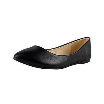 Women's Bella Marie Angie-52 Classic Pointy Toe Ballet PU Slip On Flat Shoes