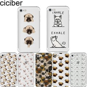 ciciber Cute Animal Pug Pattern Design Transparent Soft Silicon Phone Cases Cover for IPhone 6 6S 7 8 Plus 5S SE X Fundas Capa