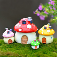 1Pcs Mediterranean house mushroom Castle DIY Resin Fairy Garden Craft Decoration Miniature Micro Gnome Terrarium Gift F0176