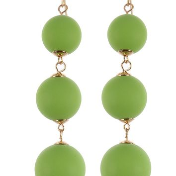Mint Green Three Layer Color Wooden Ball Earring