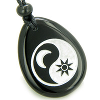 Positive Energy Forces of Nature Sun Moon Ying Yang Amulet Black Agate Pendant Necklace