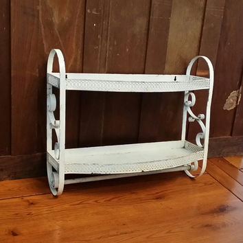 Vintage Chippy White Metal Bathroom Towel Rack with Scroll Detail