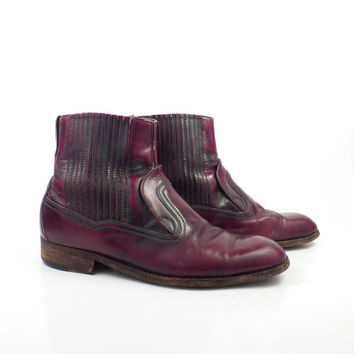 Leather Ankle Boots 1970s Burgundy Oxblood Sears Made in Italy Euro Beatle Zip men's size 8 1/2