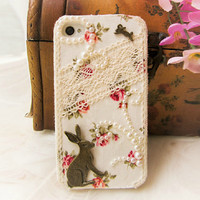 Pearl Lace Rabbit iPhone Samsung Galaxy Case
