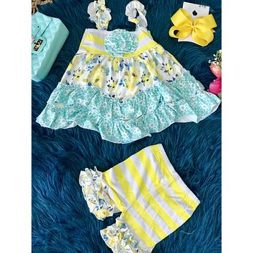 2019 Spring & Summer Mint & Yellow Flower Ruffle Dress & Short Set