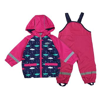 baby girls / toddler wind suit jacket & pants, windproof/waterproof suit, windproof clothing set, kids Jacket Suit+Overalls