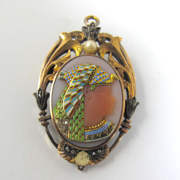 Antique Enamel Diamond Pharaoh Necklace Locket Brooch, Egyptian Revival French 18K Rose Gold Rock Crystal Hardstone Necklace Pendant Brooch