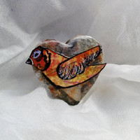 Fancy Jewelry Gift Box, Heart Shape with Multi Colored, Handmade, hand Painted Bird on Top, Small Gift Item will Fit, Cotton on Inside