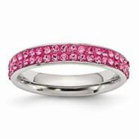 Stainless Steel 4mm Polished Pink Crystal Ring