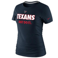 Nike Houston Texans Ladies Just Do It T-Shirt - Navy Blue