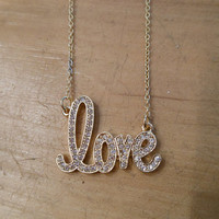 Gold Rhinestone Love Necklace | Candy's Cottage