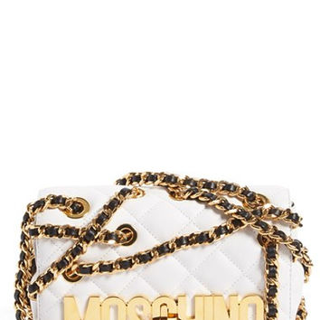 'Small Letters' Chain Wrapped Quilted Leather Shoulder Bag
