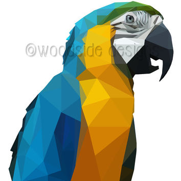 Parrot Print - Low Poly Digital Illustration, Printable Wall Art, Download, House Warming Gift, Geometric Art, Low Poly Print, Bird Print