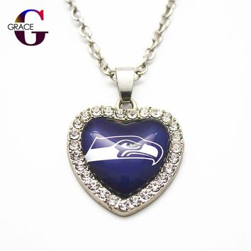 6pcs Fashion Seattle Seahawks Football Sports Charms Heart Crystal Necklace Pendant With 50cm Chains For Women Diy Jewelry