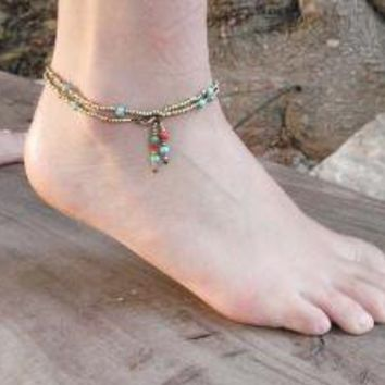 HOLIDAY SALE Turquoise Summer Delicate Anklet by AnnalisJewelry