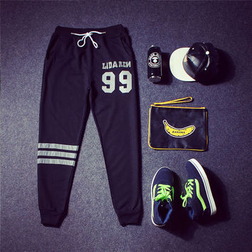 Sports Alphabet Print Casual Pants [9302652551]