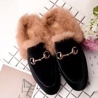2016 Fashion Women Real Fur Shoes Genuine Leather Womens Slipper Flats Female Casual Slip On Loafer Flats For Women Cozy Shoes