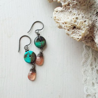 Natural sunstone & genuine turquoise dangle earrings, faceted feldspar gemstones, wire wrapped briolettes, oxidized brass, artisan jewelry