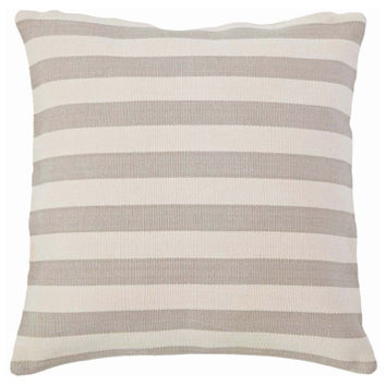 Fresh American Trimaran Stripe Platinum and Ivory Indoor/Outdoor Pillow