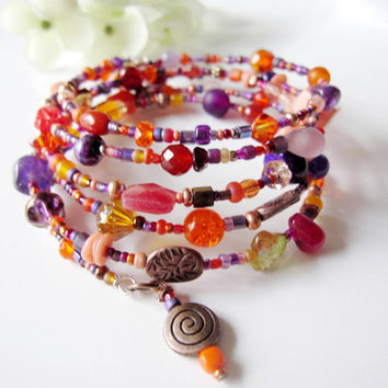 Beaded Memory Bracelet, Coil Bracelet, Wrap Bracelet, Purple, Tangerine, Copper Accents