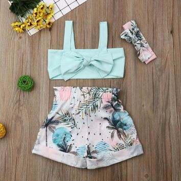 Kid Baby Girl Clothes Outfit Set Summer Tank Crop Tops Floral Shorts Pants 1-5Y