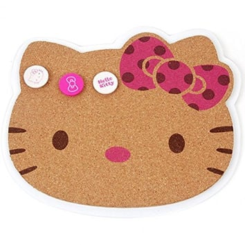 Hello Kitty 10x9 Inch Cork Bulletin Memo Board & 3 Push Pins Set, Cute Design, Easy To Hang, Original Certified (Pink Ribbon)