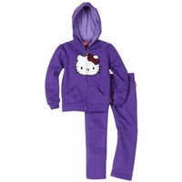 Hello Kitty Girls' Fashionable Sequin Bow On Fleece Active-Wear Set