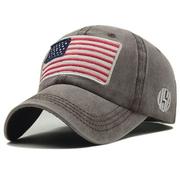 Vintage USA Flag Summer Outdoor Sunhat Sports Hiking Cap Snapback Bone Ponytail Baseball Cap Trump Hat Streetwear Women Men Hats