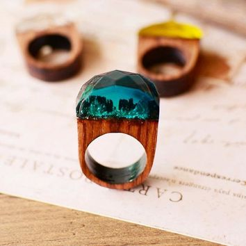 Vintage Handcrafted Blue Mountain - Secret World in Wooden Rings for Women & Men Resin Jewelry