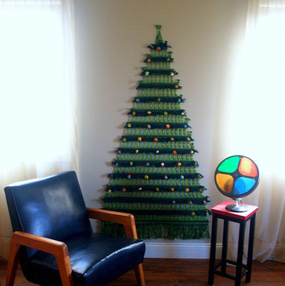 Cool Christmas Wall Decor : Mid century christmas tree macrame wall from aces finds
