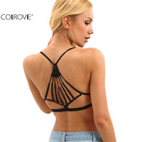 COLROVE Sexy Ruched Front Caged Lace Back Bralet Summer Style Women New Arrival Girls Casual Crop Tops Ladies Black Lingerie
