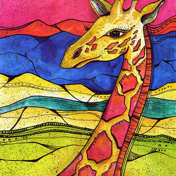Colorful giraffe painting  giraffe print  giraffe artwork  watercolor giraffe  art  painting of giraffe  zoo animal  nursery artwork