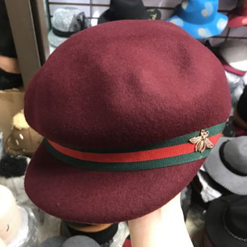 Gucci Fashion Casual Retro Bee Embroider Red Green Stripe Hat Cap In Wine red G