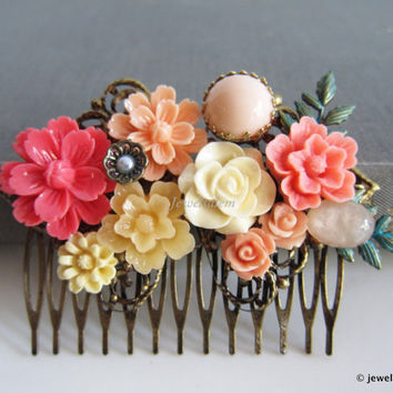 Pink Wedding Hair Comb Coral Pink Fuchsia Orange Peach Bridal Hair Slide Floral Adornment Shabby Chic Woodland Flower Headpiece with Leaves