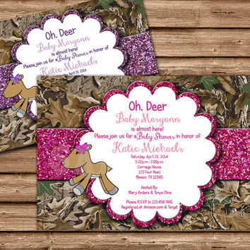 Oh Deer Baby Shower - Deer Baby Shower Invitation - Doe Baby Shower - Girl Baby Shower - Camo Babyshower - Camouflage Baby Shower