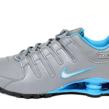 Tagre™ Nike Men s Shox NZ Cool Grey Blue Running Shoes 378341 00 0bf1ed34f8