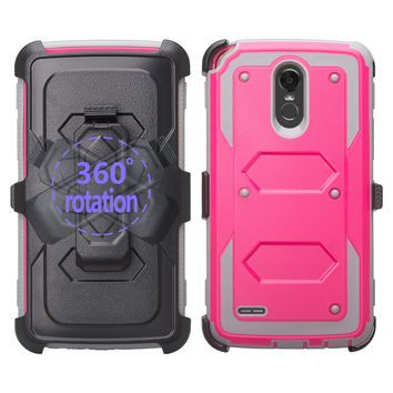 LG Stylo 3 Case, Triple Protection 3-1 w/ Built in Screen Protector Heavy Duty Holster Shell Combo Case - Hot Pink