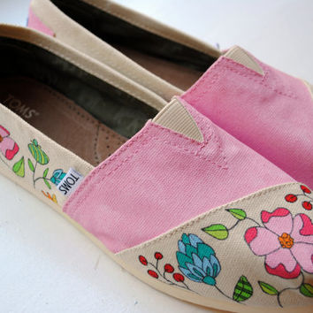 Pink Flower Garden Hand Painted TOMS, Custom Hand Painted Shoes