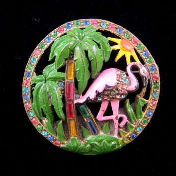 Little Nemo Palm Tree and Flamingo Circle Brooch in Riotous Color