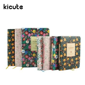 Kicute Floral Flower PU Leather Cover Schedule Book Diary Weekly Monthly Planner Organizer Notebook Office School Stationery