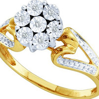 Diamond Ladies Fashion Flower Ring in 10k Gold 0.04 ctw