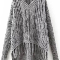 Gray Cable-Knit Tasseled Dip Hem Sweater
