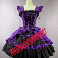 Victorian Gothic Lolita Cotton Purple Dress Ball Gown Knee length dress