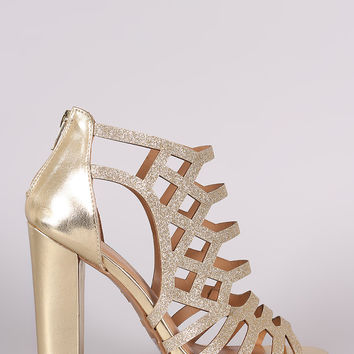 Bamboo Glitter Caged Cutout Chunky Heel