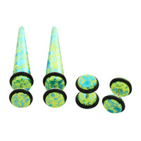 Green And Teal Metallic Faux Taper And Plug 4 Pack