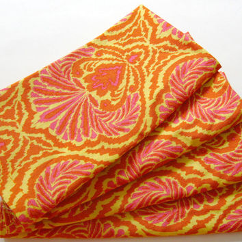 Cloth Napkins - Set of 4 - Yellow Red-Orange Pink Design - Dinner, Table, Everyday, Wedding