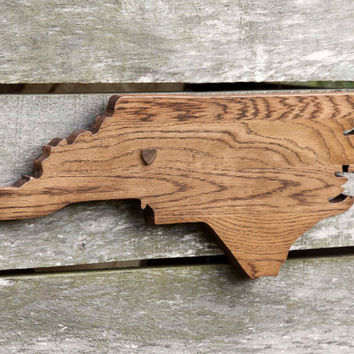 North Carolina state shape wood cutout wall art handcrafted in repurposed Oak flooring 9x23 in. Wedding Housewarming Cabin Rustic Gift Decor