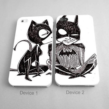 Batman And Catwoman Drawing Couples Phone Case iPhone 4/4S, 5/5S, 5C Series - Hard Plastic, Rubber Case