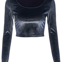 ROMWE | Silver Glittery Midriff Velvet T-shirt, The Latest Street Fashion