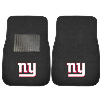 New York Giants NFL 2-pc Embroidered Car Mat Set